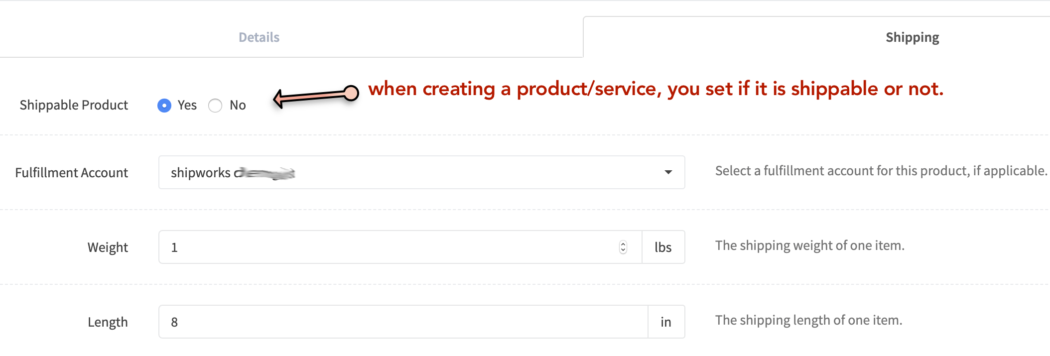 image showing how you set a product to be shippable or non-shippable in your admin panel.