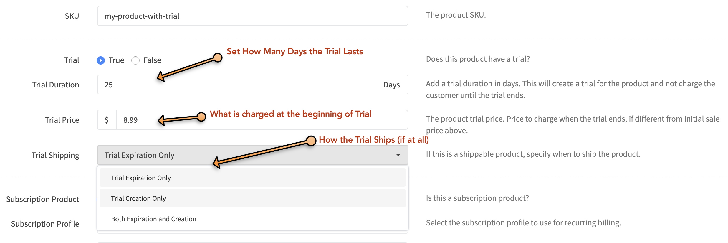 setup options for creating a trial product in RevCent.